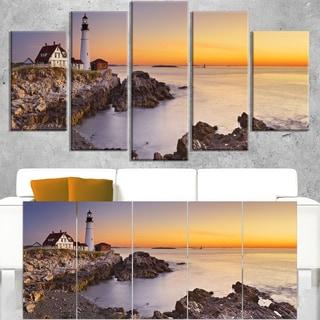 Portland Head Lighthouse Maine - Modern Seascape Canvas Artwork