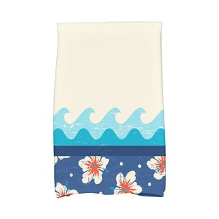 16 x 25-inch Surf Sand & Sea Floral Print Kitchen Towel