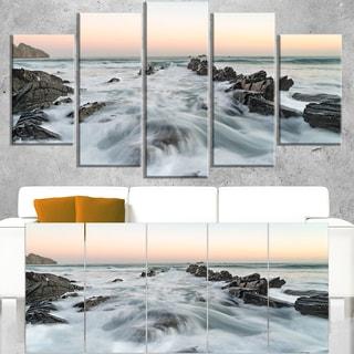 Waves Hitting Beach at Sunrise Atlantic - Contemporary Seascape Art Canvas