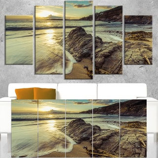 Sunset at Beach Vintage Style - Modern Seascape Canvas Artwork