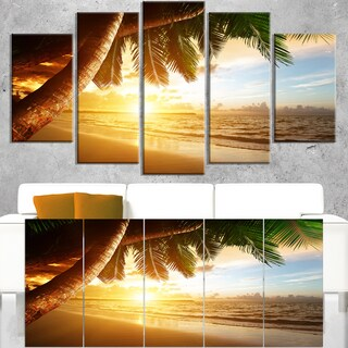 Beautiful Beach under Palms - Modern Seashore Canvas Art