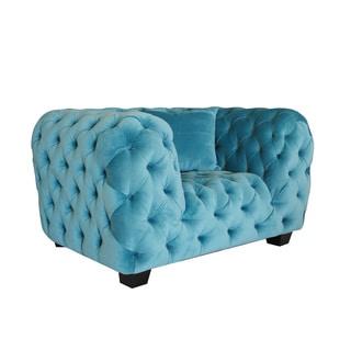Casa Milano Collection Sky Blue Velvet Tufted Armchair