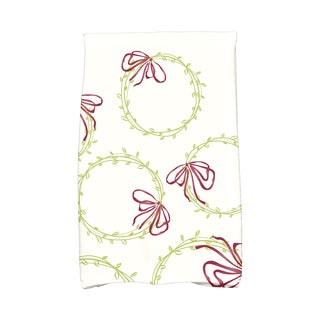 16 x 25-inch Simple Wreath Holiday Geometric Print Kitchen Towel
