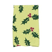 16 x 25-inch Allover Holly Holiday Floral Print Kitchen Towel