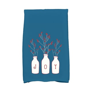 16 x 25-inch Joy Holiday Floral Print Kitchen Towel