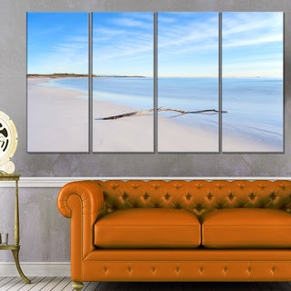 Wood Branch on White Beach - Modern Seascape Canvas Artwork