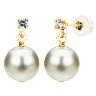 DaVonna 14k Yellow Gold 1/10tcw Diamond 9-10mm White Freshwater Cultured Pearl Stud Earrings