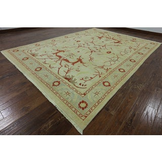 """Hand-Knotted Oriental Peshawar Ivory Wool Rug (9' 0"""" X 12' 3"""")"""