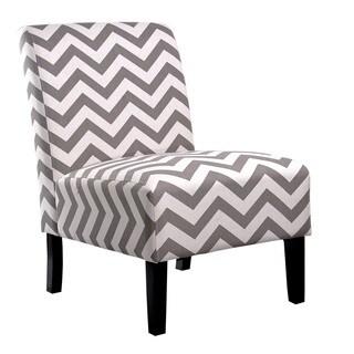 Merveilleux Nathaniel Home Katherine Grey Chevron Accent Slipper Chair