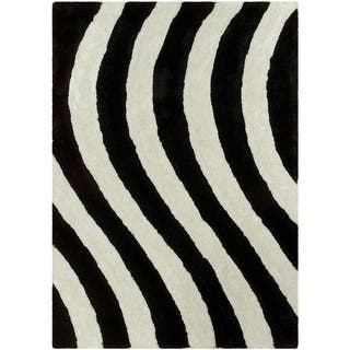 Hand Tufted Snow Black Wool Rug 5 X 8 Free Shipping