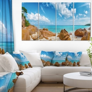 Rocky Seychelles Island Panorama - Oversized Beach Canvas Artwork