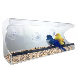 Large Window Suction Cup Bird Feeder, with Removable Tray, Drainage Holes, and Strong Suction Cup