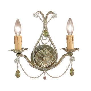 Crystorama Paris Market Collection 2-light Gold Leaf Wall Sconce