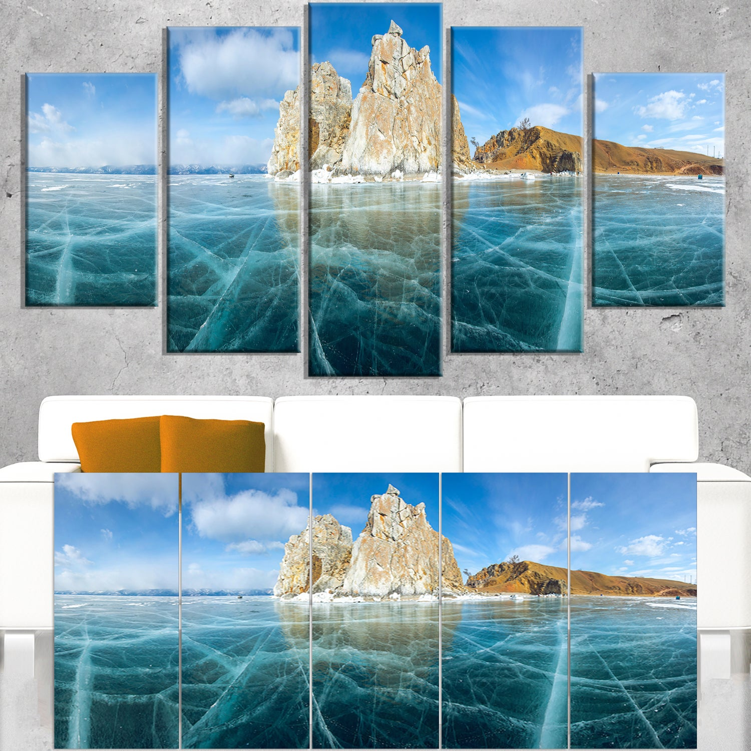 Lake Baikal Ice And Rocks Panorama Large Seascape Art Canvas Print Blue Overstock 12305589