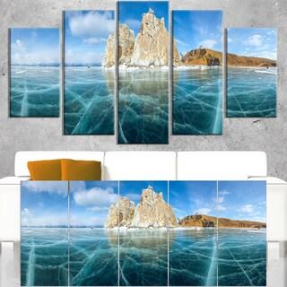Lake Baikal Ice And Rocks Panorama Large Seascape Art Canvas Print Blue Overstock 12305589