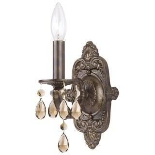 Crystorama Paris Market Collection 1-light Venetian Bronze/Golden Teak Swarovski Strass Crystal Wall Sconce
