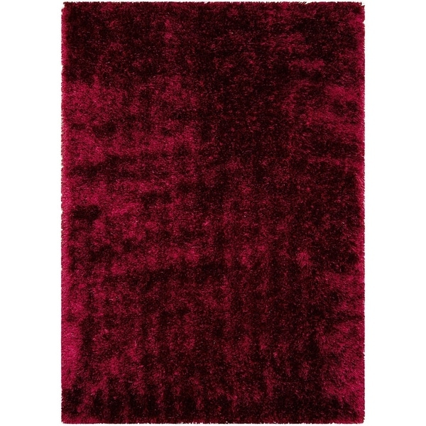 Lyke home jumbo thick burgundy shag area rug 5 39 x 7 for Thick area rugs sale
