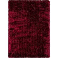 LYKE Home Jumbo Thick Burgundy Shag Area Rug - 5' x 7'