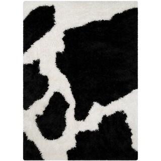LYKE Home Jumbo Thick Cow Skin Black Shag Area Rug (5' x 7')