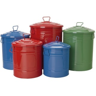 Hit Corp 6517 S/5 Galvanized Container Assorted 5 Piece Set
