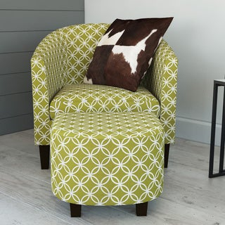 Nathaniel Home Green Club Chair with Ottoman