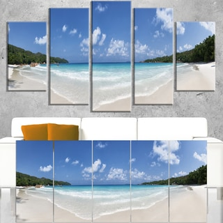 Blue Seychelles Island Panorama - Large Seascape Art Canvas Print