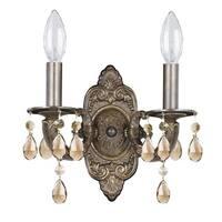 Crystorama Paris Market Collection 2-light Venetian Bronze/Golden Teak Swarovski Strass Crystal Wall Sconce