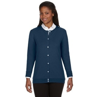 Perfect Fit Women's Navy Cotton-blended Ribbon Cardigan