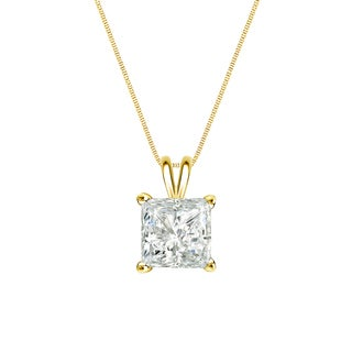 Auriya 14k Gold 1/4ct TDW Princess-Cut Diamond Solitaire Necklace (I-J, SI2-SI3)