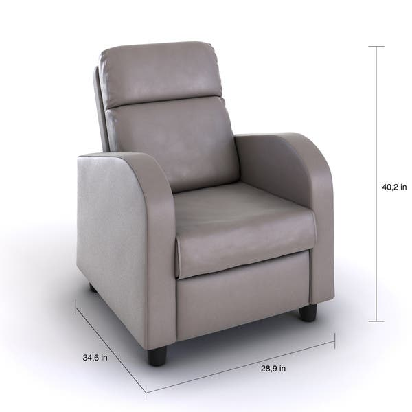 Stupendous Porch Den Bay View Carferry Grey Faux Leather Recliner Bralicious Painted Fabric Chair Ideas Braliciousco