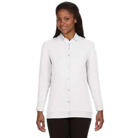 Perfect Fit Women's White Ribbon Cardigan