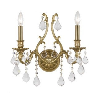 Crystorama Yorkshire Collection 2-light Aged Brass Wall Sconce