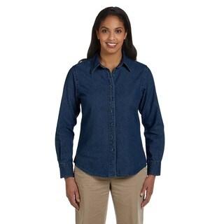 Women's Long-Sleeve Denim Dress Dark Denim Shirt