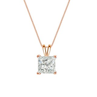 Auriya 14k Gold 1/4ct TDW Princess-Cut Diamond Solitaire Necklace