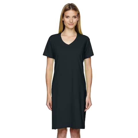Women's Black Fine Jersey Cotton Crossover V-neck Coverup