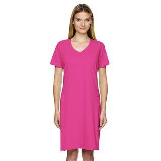 Fine Jersey Women's Hot Pink Cotton Crossover V-neck Cover-up|https://ak1.ostkcdn.com/images/products/12305798/P19140642.jpg?impolicy=medium