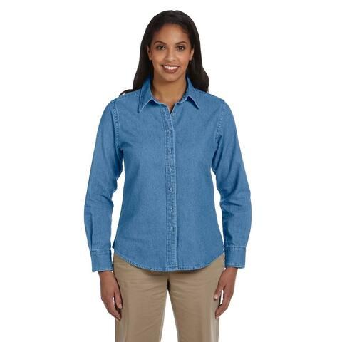 Women's Long-Sleeve Denim Light Denim Shirt