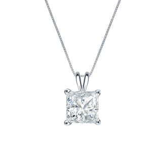 Auriya 14k Gold 1/3ct TDW Princess-Cut Diamond Solitaire Necklace (H-I, SI1-SI2)