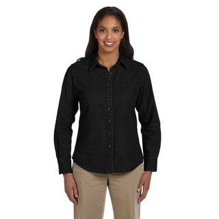 Women's Long-Sleeve Denim Washed Black Shirt