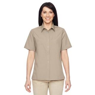 Advantage Women's Snap Closure Short-Sleeve Khaki Shirt