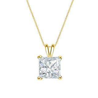 Auriya 14k Gold 1/2ct TDW Princess-Cut Diamond Solitaire Necklace (H-I, SI1-SI2)