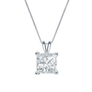 Auriya 14k Gold 1/2ct TDW Princess-Cut Diamond Solitaire Necklace