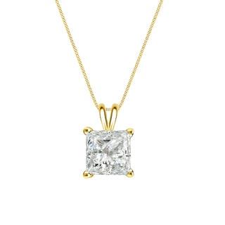 Auriya 14k Gold 1/3ct TDW Princess-Cut Diamond Solitaire Necklace