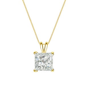 Auriya 14k Gold 1/3ct TDW Princess-Cut Diamond Solitaire Necklace