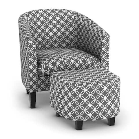 Porch & Den Brust Grey Print Club Chair with Ottoman