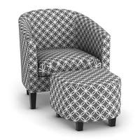 Porch & Den Bay View Brust Grey Print Club Chair with Ottoman