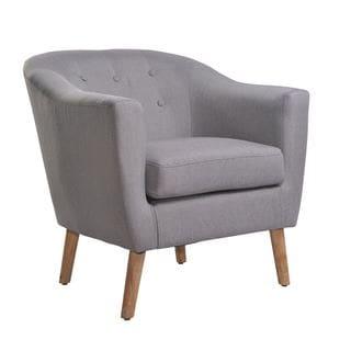 Nathaniel Home Jason Mid Century Light Grey Club Chair