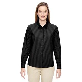 Align Women's Wrinkle-Resistant Cotton Blend Vertical Striped Dress Black 703 Shirt