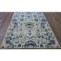 Blue and Yellow Abstract Area Rug - 5' x 8'