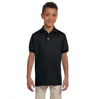Boys' Black Spotshield Jersey Polo Shirt